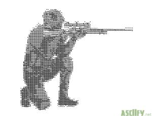 Crouching operator with sniper rifle aiming at enemy