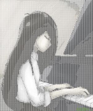 Mari playing the piano