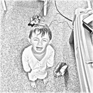 Crying kid in pyamas