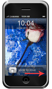 Unlock screen slide to love