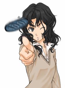 Cartoon girl throwing coin