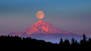 Moon shot over mountain