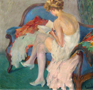 Painting woman reading book